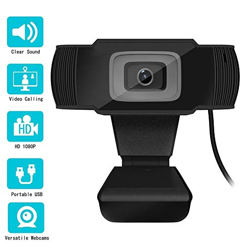 iKulilky 1080P Autofokus Webcam Full HD Bussiness Webkamera mit Zwei Digitalen Mikrofonen - USB-Computerkamera für PC Laptop Desktop Mac Videoanrufe, Konferenzen über Skype YouTube (Black.)