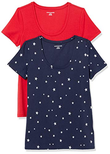 Amazon Essentials 2-Pack Classic-Fit Short-Sleeve Scoopneck fashion-t-shirts, Navy Star/Red, XXL