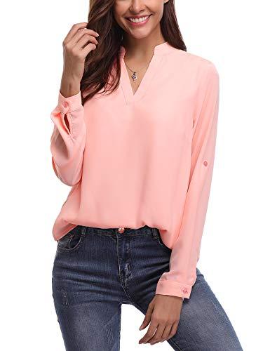 Abollria Damen Chiffon Bluse Elegant Tunika V Ausschnitt Leicht Langarmshirt Lockere Blusen für Frühling