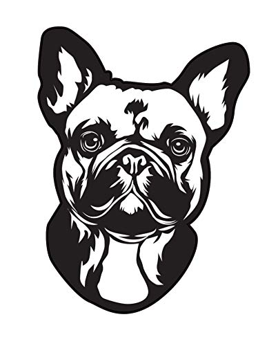 WickedGoodz French Bulldog Decal - Dog Breed Bumper Sticker - for Laptops Tumblers Windows Cars Trucks Walls - Black and White Face