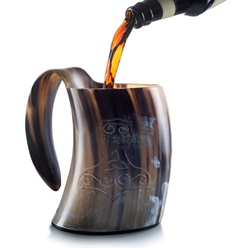 #1 Viking Horn Tankard Mug (20 oz.) – Authentic, Medieval Celtic Beer and Ale Cup – Solid, Stable and Handcrafted