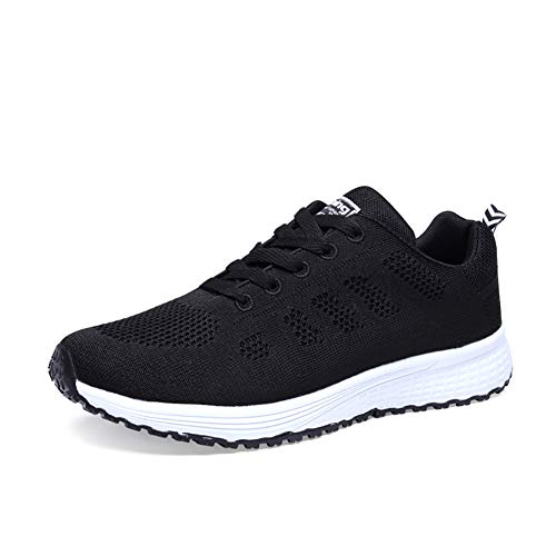 Orktree Damen Sneaker Fitness Laufschuhe Sportschuhe Schnüren Running Schuhe Herren Ultra-Light Turnschuhe, Schwarz, 41 EU