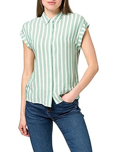 TOM TAILOR Damen 1024063 Striped Bluse, 26020-Green Offwhite Vertical Stripe, 40