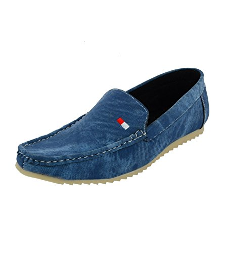 Leatherkraft Men's Blue Denim Loafers