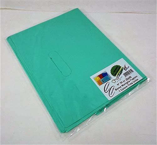 Sobres biodegradables/compostables con asa de haya, varios tamaños, color liso y fantasía según la normativa de la Ley UNI EN 13432:2002, color VERDE 50 pz 30x40