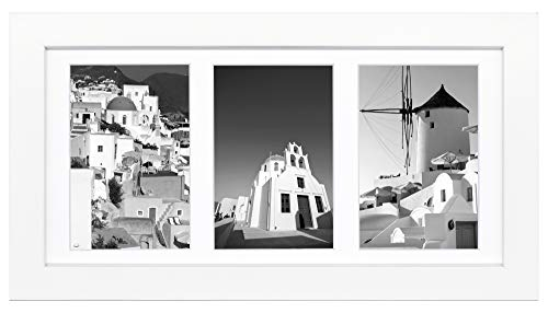 Golden State Art, 7x14 White Photo Wood Collage Frame, for (3) 4x6 Pictures, with White Mat & Real Glass