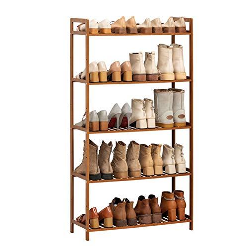 Jklt Práctico Zapatero Rack de Zapatos de 5 Capas 100% de bambú de bambú Zapato Caja de Almacenamiento Corredor Bathroom Garden Fácil de Usar (Color : Coffee, Size : 68x25x128cm)