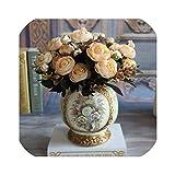 人工茶ローズシルクフラワーブーケ用ホームウェディングデコレーションヨーロッパ安い花瓶テーブルアレンジメントフェイクフラワー、ベージュ