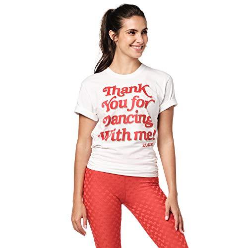 Zumba Atmungsaktiv Fitness Unisex Workout Bedruckte Grafik T Shirt für Frauen und Männer, Love White, M/L