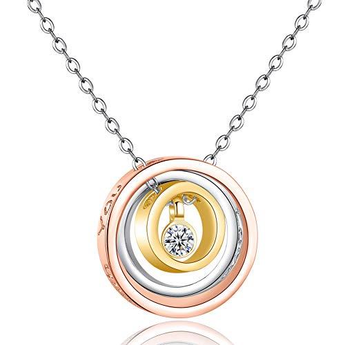 KLJHMAP Frauen Halskette, Three Rings Anhänger, Crystal Rose Goldschmuck, Mädchen