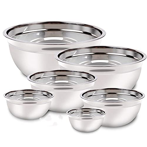 Stainless Steel Mixing Bowls with Lids Set, Reusable Silicone Stretch Lids Measuring Cups Spoons Metal Nesting Bowls Size 7, 4.5, 3.5, 2.5, 2,1.5QT Kitchen Utensils for Cooking Prepping Baking Serving