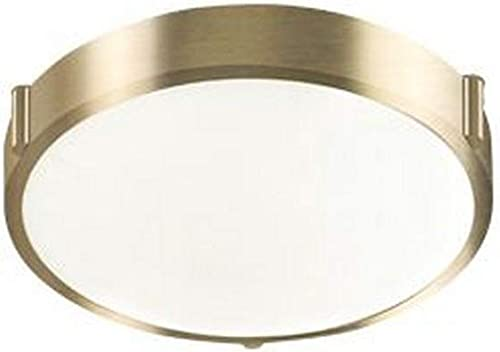 discount Kuzco Lighting 501102-VB 2021 Floyd - 11 Inch 15W 1 LED Round Flush Mount, Vintage Brass Finish online sale with White Opal Glass outlet sale