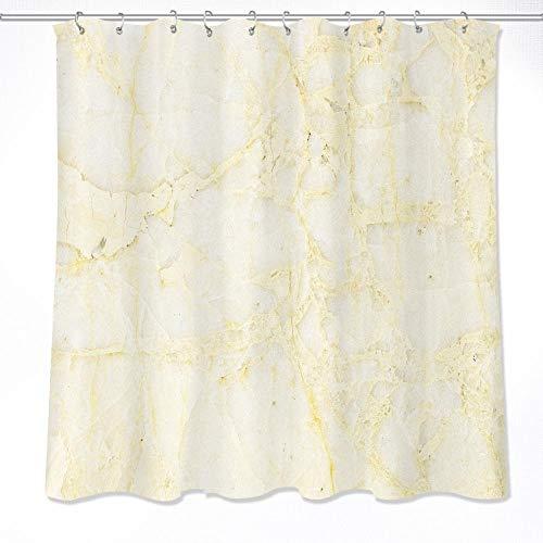 NOBRAND stof polyester crème marmer aderen waterdichte douchegordijnen stof badkamer douchegordijnen met haken - W180xH180cm