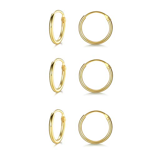 LYTOPTOP 3 Pairs Gold Hoops Earrings for Women S925 Sterling Silver Small Hypoallergenic Earrings Set Cartilage Nose Lip Rings for Men Girls, 8/10/12mm