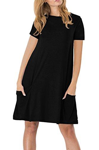 YMING Damen Kurzarm Kleid Lose T-Shirt Kleid Rundhals Casual Tunika mit Taschen Mini Kleid, L, Mit Taschen-schwarz