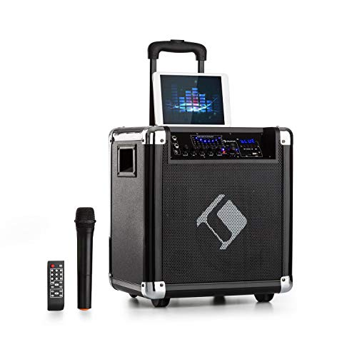 auna Moving 80 - PA-Anlage, Karaoke-Anlage, 100 W max, XMR-Bass-Technology, VHF-Mikro, USB, SD-Slot, Bluetooth, AUX, mobil, integrierter Akku, schwarz