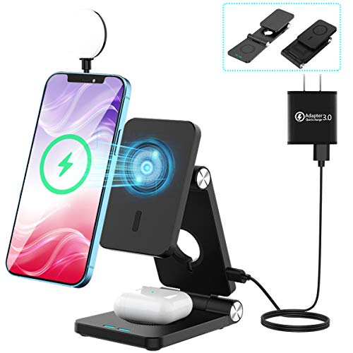 FEIKU Magnetic Wireless Charger, 4 in 1 Portable Foldable Fast Wireless Charging Station LED Desk Lamp for Apple iPhone 12/12Pro/12Pro Max/12 Mini/Watch/Airpods Pro(with QC3.0 Adapter) (Black)