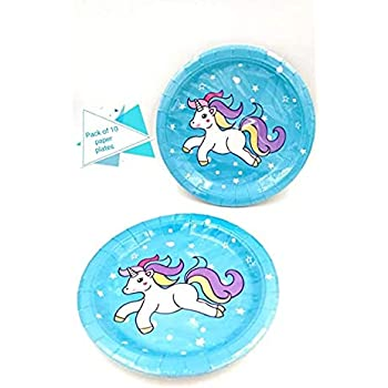 Pack of 20 Unicorn Theme Paper Plates|Unicorn Theme Party Supplies|Blue