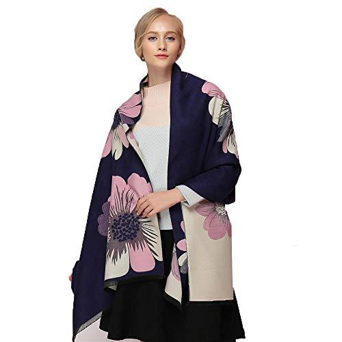 YBBZJ Damen Schal, zweiseitig, elegant, Kaschmir-Imitat, warm, dick, große Blumen, Kaschmir, Schal Gr. Einheitsgröße, navy