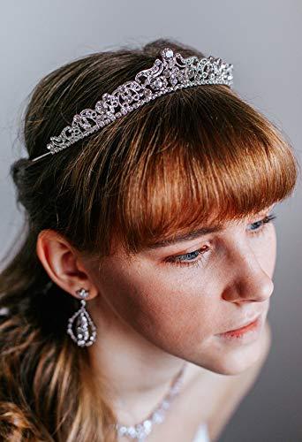 SWEETV Hochzeit Tiara Braut Tiara Kristall Strass Tiara Krone mit Kamm für die Hochzeit, Silber