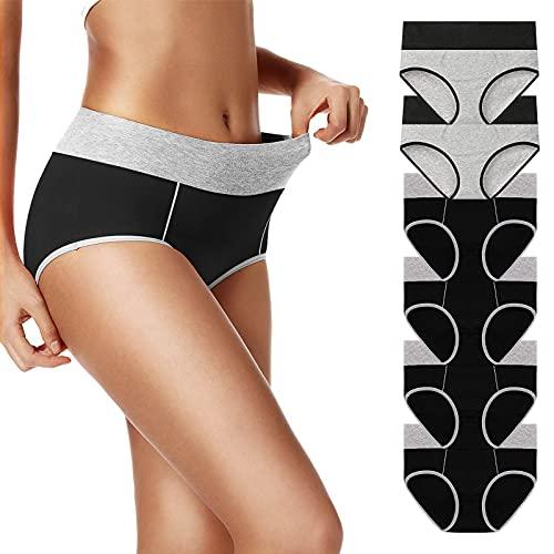 UMMISS Women's Underwear Cotton High Waisted Full Coverage Brief Panties 6 Pack