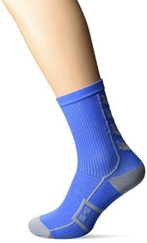 Hummel Sportsocken kurz Unisex mit Polsterung div. Farben - REFLECTOR TECH INDOOR SOCK LOW - Socken antibakteriell für Sport & Fitness - Strümpfe Mesh Belüftung, Palace Blue/Microchip, 10/36-40