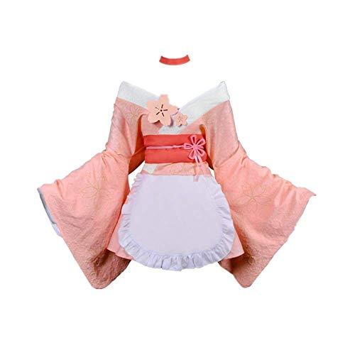 7PCS Anime Re: Leben in Einer Anderen Welt als Null Rem Halloween Karneval Cosplay Kostüm Outfit Schürze Kimono Kleid Anzüge Rosa Niedlicher Rock Hohe Qualität