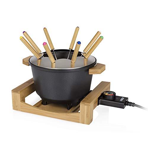 Princess Bambus Fondue Pure Black - geeignet für bis zu 8 Personen, 800 Watt, 1,5L Fasssungsvermögen, einfache Reinigung, 173025
