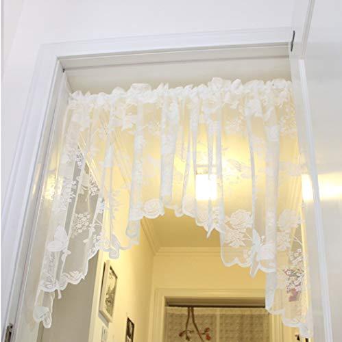 Heichkell Spitzen Scheibengardine Vintage Jacquard Küche Vorhang 210x90 cm