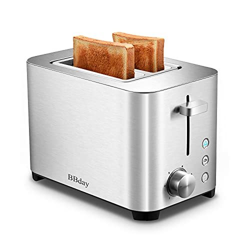 BBday 2 Slice Toasters,1.5'' Extra Wide 2 Slot Toaster, 6 Bread Shade Settings,with Defrost,Reheat and Cancel, Removable Crumb Tray, 850W, Stainless Steel