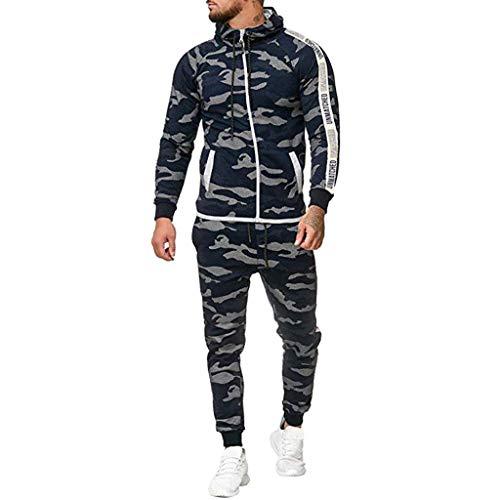 Riou-Sweatshirts Herren Sportanzug Basic Kontrast Anzug Jogginganzug Hoodie Jacke Hose