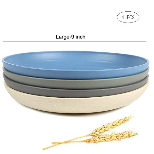 """Large Dinner Plate 9"""" Wheat Straw Unbreakable Dinner Dish Plate Set Non-toxin, Dishwasher & Microwave Safe, Multi-color."""