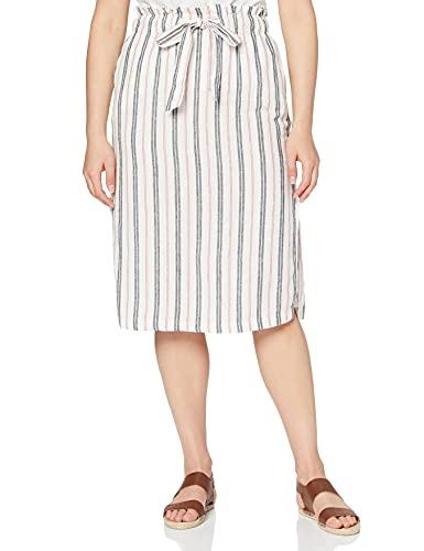 Marca Amazon - find. Falda Midi para Verano Mujer, Multicolor (RED/ BLUE STRIPE), 46, Label: XXL