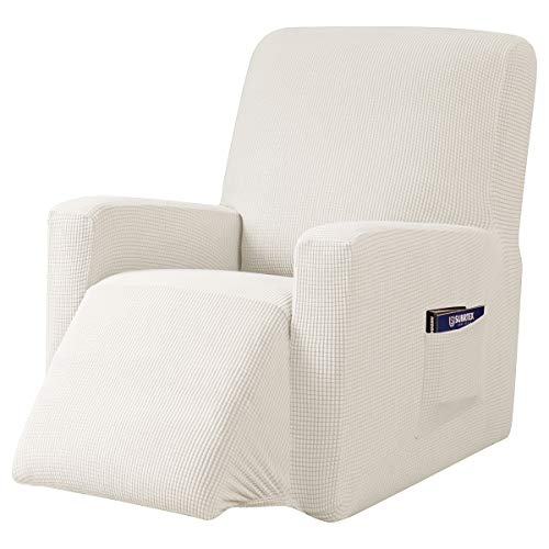 subrtex 1-teiliger Jacquard Husse, Bezug für Fernsehsessel, Relaxsessel, Liege Sessel, Schaukelstuhl, Relaxstuhl, Schonbezüge Sofabezüge Liegenbezug (Weiß)