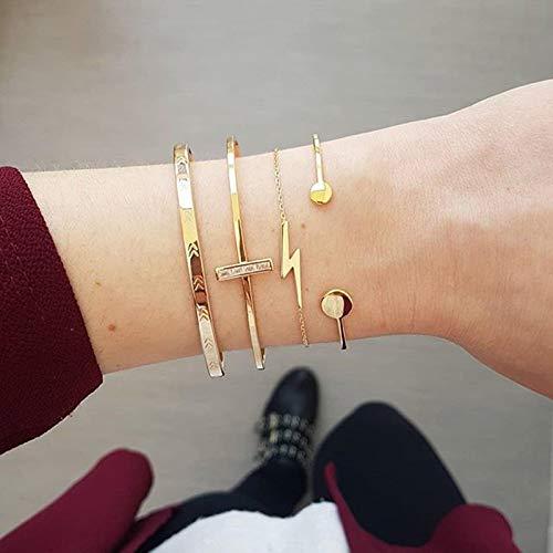 ShFhhwrl Hand Bangle Bracelets Jewellery For Womens Gold Color Bracelet Set Punk Chain Retro Jewelry Female Personality Wedding C