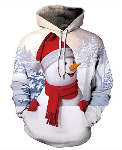 JIER Unisex 3D Druck Christmas Kapuzenpullover Weihnachten 3D Hoodie Sweatshirt Lustige Pullover Kapuzenpullis Hoodies Weihnachtspulli Tops (Mehrfarbig 2,Medium)