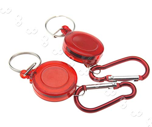 SING F LTD New 2 x Red Retractable Key Chain Badge Reel Recoil Holder Yoyo Pass ID Card