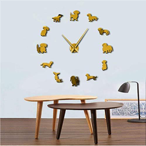 mazhant Dackeluhr DIY Große Wanduhr Wiener-Hund Welpenhund Spiegel Rahmenlos Riesen 3D Wanduhren Wursthund Wanddeko 27Inch