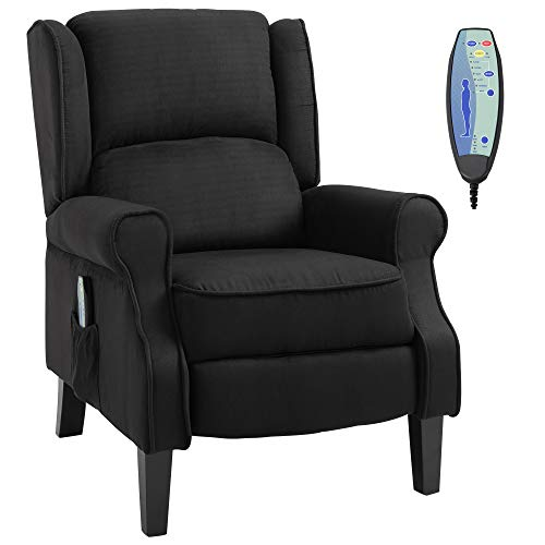 HOMCOM Wingback Heated Vibrating Accent Sofa Vintage Linen Fabric Massage Recliner Chair Push-Back with Remote Controller - Black