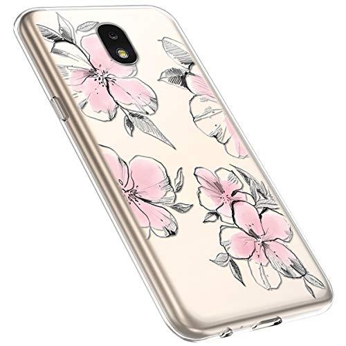 MoreChioce kompatibel mit Samsung Galaxy J7 2018 Hülle,Galaxy J7 2018 Handyhülle Blume,Ultra Dünn Transparent Silikon Schutzhülle Clear Crystal Rückschale Tasche Defender Bumper,Blumenzweig #28