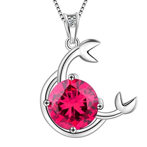 AuroraTears Krebs Halskette 925 Sterling Silber 12 Sternzeichen Anhänger Sternbild Juli Birthstone Halskette CZ Horoskop Schmuck Geschenk für Frauen und Mädchen DP0134X