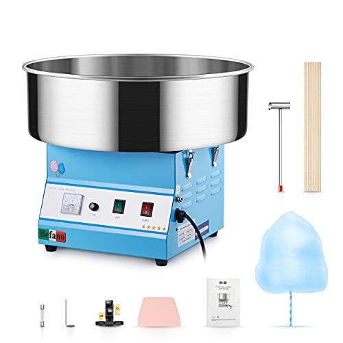Befano Zuckerwattemaschinen Elektrisch 1030W, Ø52CM Abnehmbarer Edelstahlbehälter 10 Sekunden 1 Ausbeute mit Zuckerlöffel Teigschaber Schublade für Geburtstagsfeier Fiesta(Blau ohne Schublade)