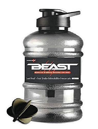 DOVEAZ Power Plus Beast Sports Water Bottles for Office use/Protein Shaker Bottle/Gallon Bottle (1.5 LTR) with Mixer Ball and Strainer (BPA-Free, Unbreakable, Freezer Safe) (Black)