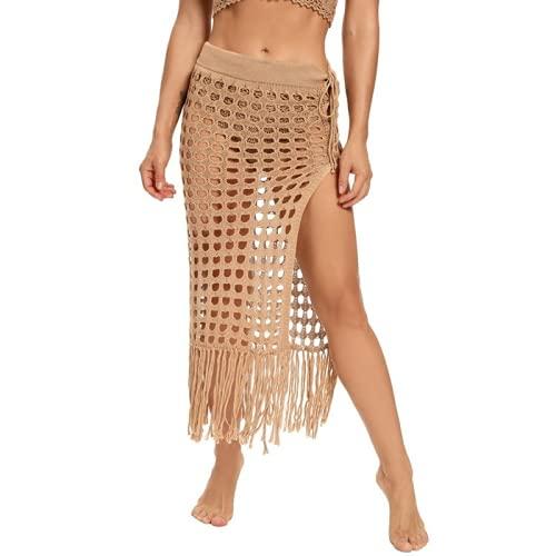 Bienwwow Falda de playa para mujer, con abertura lateral de ganchillo, para cubrir las faldas