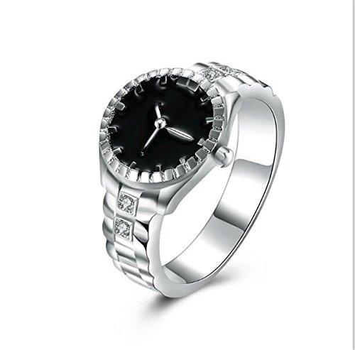 Nikgic Moda lindo anillo de dedo de plata con circonita para mujeres y niñas, regalos tamaño US 10
