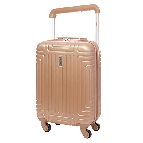 Aerolite ABS Hard Shell Carry On Hand Cabin Luggage Trolley Bag Suitcase 55x35x20 with 4 Wheels, easyJet Ryanair British Airways Approved (Rose Gold)