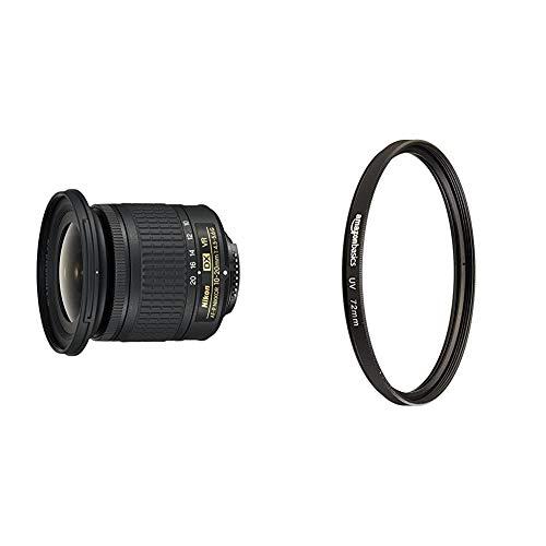 Nikon AF-P DX NIKKOR 10-20mm f/4.5-5.6G VR - Objetivo para cámara, Color Negro + AmazonBasics - Filtro de protección UV - 72mm