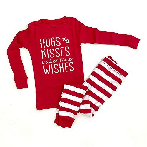 Hugs Kisses Valentine Wishes Kids Pajamas Valentine's Day Boy Girl Baby Toddler Matching Siblings Holiday Red/White