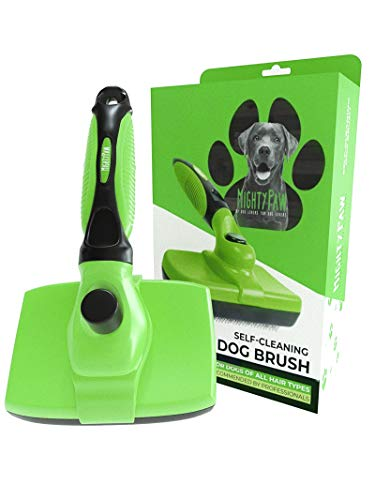 Mighty Paw Dog Grooming Brush | Durable Self-Cleaning Pet Brush. 100% Stainless Steel Soft Bent Bristles. Great For Removing Hair, Mats, & Tangles. Soft Ergonomic Handle For Extra Comfort (Green)
