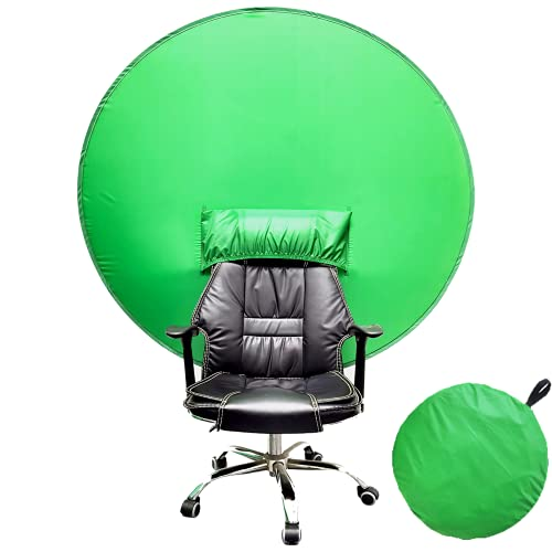 Green Screen,Telo Verde Green Screen,Verde Sfondo Pieghevoli,Portatile Chroma Key Verde,Diametro 142 cm Green Screen Sedia,per YouTube Montaggio Video丨 Zoom Sfondo Virtuale丨Conferenza Web丨Chat Video